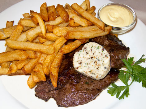French Bistro Food Menu Steak frites, typical french