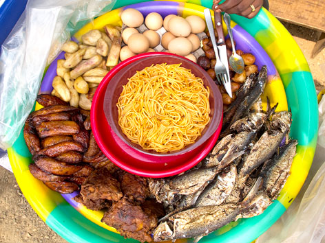 An overhead view of a traditional Sierra Leone fry fry.