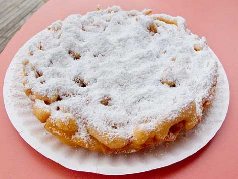 Funnel cake topped with powdered sugar, from the Seaside boardwalk, Jersey Shore