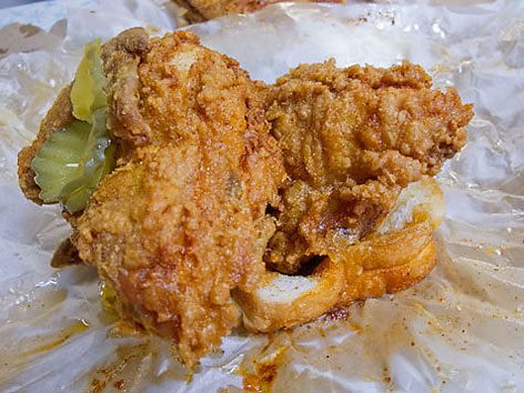 Hot chicken from Prince's Hot Chicken Shack in Nashville.