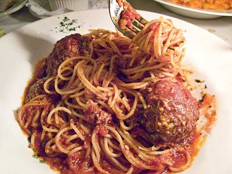 Spaghetti and meatballs from Dante & Luigi's in Philadelphia.