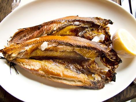 A plate of grilled Manx kippers from Dean Street Townhouse in London, England