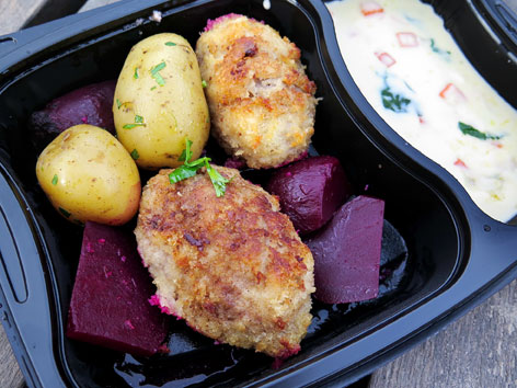 Krebinetter, breaded pork patties, from Copenhagen, Denmark