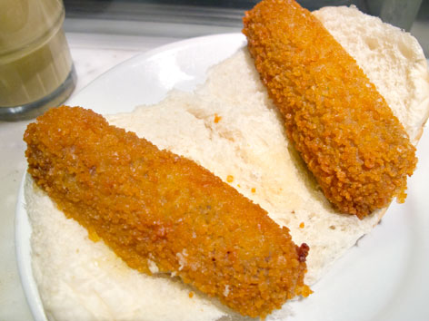 Two kroketten (croquettes) on bread from Eetsalon Van Dobben in Amsterdam.