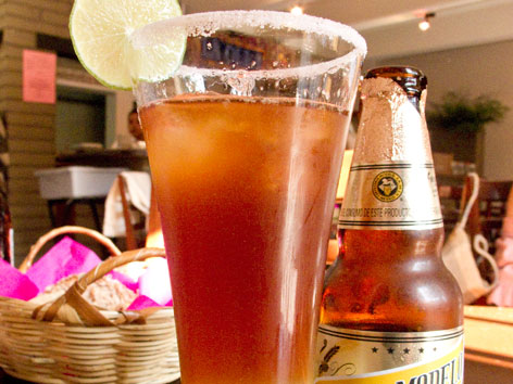 A chelada with it's accompanying beer from La Olla in Oaxaca.