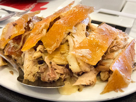 A plate of lechon cebu from Zubuchon in Philippines.