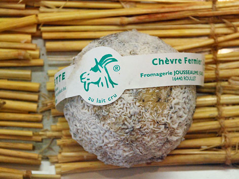 A package of local taupinette cheese from Place du Marché in the Charente-Maritime region of France.