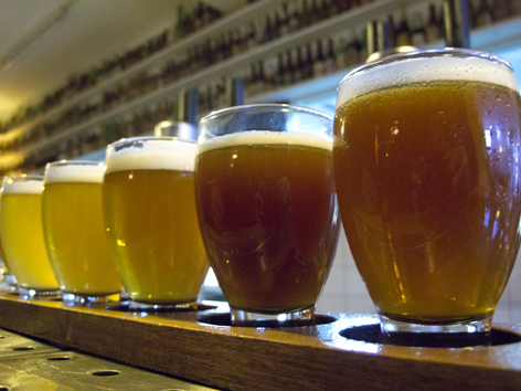 A sampling of house craft beers at Brouwerij 't IJ in Amsterdam, the Netherlands