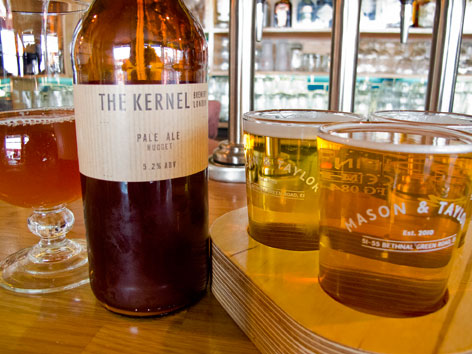 Local craft beer from The Kernel brewery, from a pub in London, England