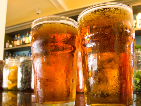 Two pints of Blue Point beer from a bar in Montauk, Long Island, New York