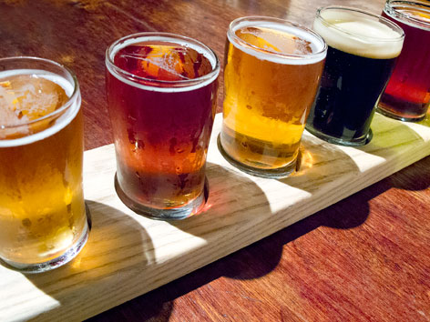 A sampler of housemade craft beers from Bru Room at Bar in New Haven, Connecticut