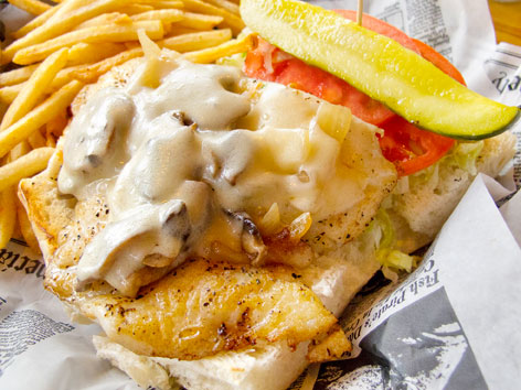 A hogfish sandwich with fries from Hogfish Bar and Grill in the Florida Keys.