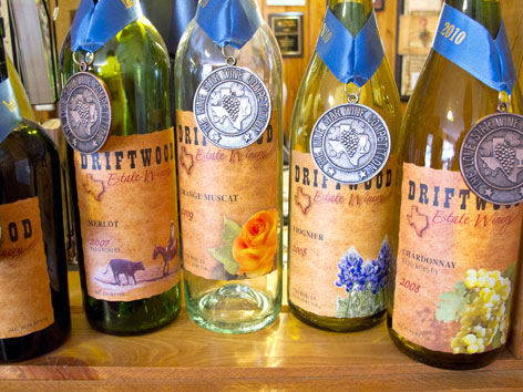 Award-winning bottles of Texas Hill Country wine from Driftwood Estate Winery in Texas.