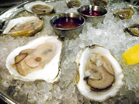 Local oysters from Island Creek Oyster Bar in Boston.