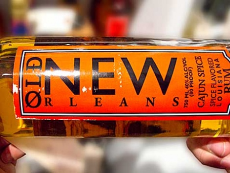 A bottle of locally made Old New Orleans Rum, from a liquor store in New Orleans.