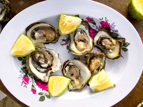 A plate of local oysters with lemon from Bureh Beach in Sierra Leone.
