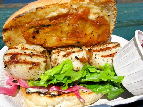 Local scallop sandwich from Red Fish Blue Fish in Victoria, British Columbia.