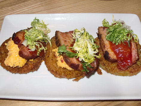 A fried green BLT from Yardbird Southern Table & Bar in Miami, Flordia.