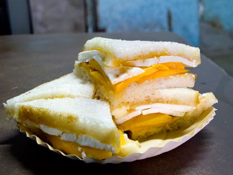 A mango paneer sandwich from Jain Coffee House in Delhi, India.