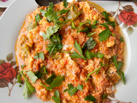 Menemen scrambled eggs from a cafe in Istanbul