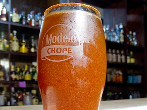 A glass of michelada from La Farola in Oaxaca, Mexico.