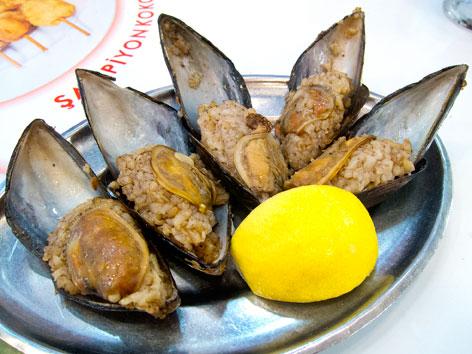 Midye dolma, or stuffed mussels, from Istanbul, Turkey
