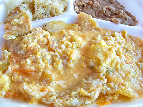 A plate of migas from Tamale House No. 3 in Austin, Texas.
