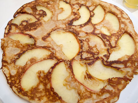 A traditional Dutch apple pannenkoek, or pancake, in Amsterdam, The Netherlands.