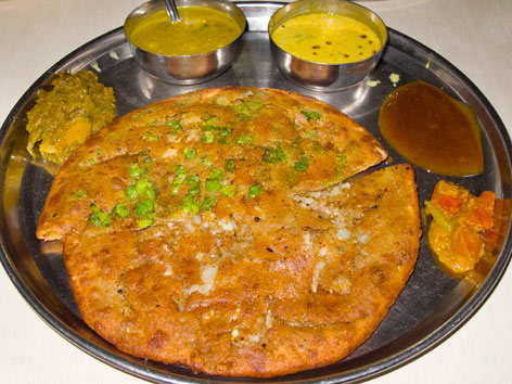Paratha from Rambabu Paratha Bhandar in Agra, India.