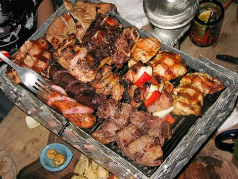 A parrillada of grilled meats from Andrés Carne de Res in Bogota, Colombia.