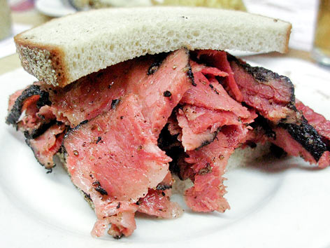 Katz's Delicatessen famous pastrami sandwich in New York City.