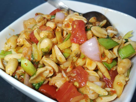 Badam sadheko, a spicy, cold peanut salad in Nepal, from a cafe in Kathmandu.