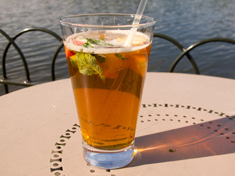 A Pimm's Cup cocktail at Serpentine Lake in London, England