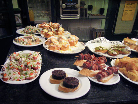 A spread of pintxos from Parte Vieja in San Sebastián.
