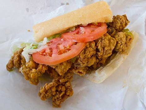 A golden-fried oyster po'boy from Parkway Bakery & Tavern in New Orleans.