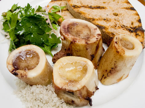 The roast bone marrow dish with parsley salad, salt, and toast at St. John in London, England