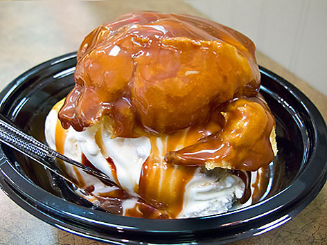 Sanders hot fudge cream puff or bumpy cake from Detroit.