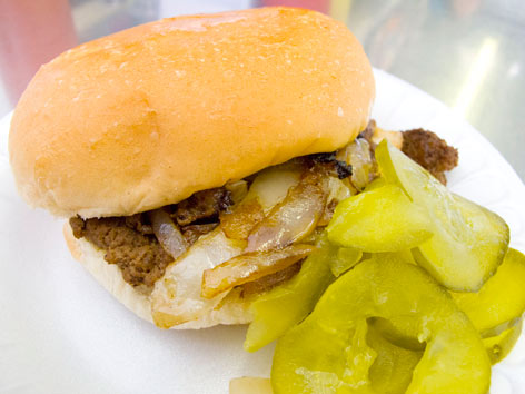 A slider with pickles from Bate's Burgers in Detroit.