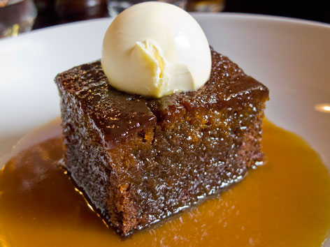 A dish of sticky toffee pudding from the Holly Bush Pub in London, England