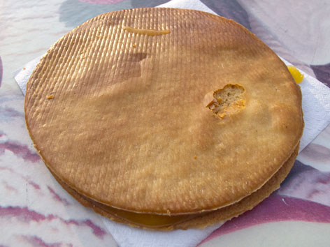 A stroopwafel from Lanskroon bakery in Amsterdam, the Netherlands.