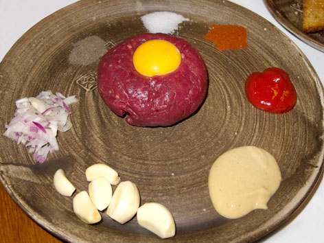 A platter of tatarak, a raw beef dish similar to French tartare, at U Pinkasu in Prague, Czech Republic