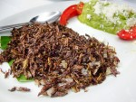 Chapulines or fried grasshoppers from Casa de la Abuela in Oaxaca, Mexico.