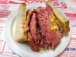 The famous smoked meat sandwich from Schwartz's in Montreal, Canada.