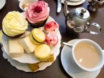 A spread of afternoon tea, with scones and sweets, from Bea's of Bloomsbury in London, England