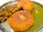 Aloo tikki from Nathu's Sweets in Delhi, India.