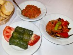Cold meze, including ezme and dolma, in Istanbul, Turkey