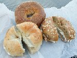 Three types of fresh New York City bagel