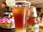 A tall glass of chelada with it's accompanying beer from La Olla in Oaxaca.