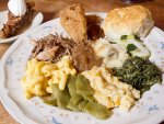 Family-style Southern plate from Monell's in Nashville.