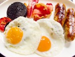 A typical full English breakfast, including black pudding, at Dean Street Townhouse in London, England